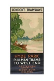 Hyde Park, Pullman Trams to West End, London County Council (LC) Tramways Poster, 1930 Giclée-Druck von Rene Blair