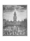 Interior View of the Royal Exchange with Merchants, City of London, 1729 Giclee Print by Sutton Nicholls