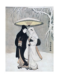Crow and Heron, or Young Lovers Walking Together under an Umbrella in a Snowstorm, C1769 Giclée-tryk af Suzuki Harunobu