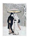 Crow and Heron, or Young Lovers Walking Together under an Umbrella in a Snowstorm, C1769 Lámina giclée por Suzuki Harunobu