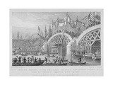 London Bridge, with the Lord Mayor's Procession Passing under the Unfinished Arches, 1827 Giclee Print by Thomas Higham