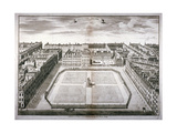 Aerial View of Leicester Square with Carriages, Westminster, London, 1754 Giclee Print by Sutton Nicholls
