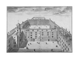Bird's-Eye View of Bridewell with Figures Walking in the Quadrangle, City of London, 1750 Giclee Print by Sutton Nicholls