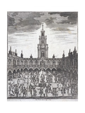 Courtyard of the Royal Exchange (2N) London, 1729 Giclee Print by Sutton Nicholls