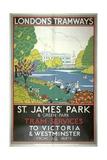 St James Park, London County Council (LC) Tramways Poster, 1933 Giclée-Druck von W Langlands
