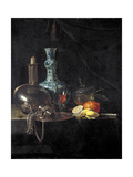 Still Life with a Pilgrim Flask, Candlestick, Porcelain Vase and Fruit, 17th Century Giclee Print by Willem Kalf