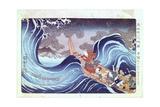 Nichiren Calming the Storm, 19th Century Impressão giclée por Utagawa Kuniyoshi