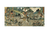 Battle, from the Series '47 Faithful Samurai, 1850-1880 Giclee-trykk av Utagawa Yoshitora
