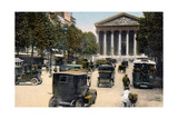 Rue Royale and the Madeleine, Paris, with Cars and a Motorbus on the Street, C1900 Giclee Print