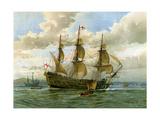 Royal Navy Battle Ship, C1650 Gicléedruk van William Frederick Mitchell