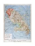 Map Showing the Eruption of Mount Pelee, Martinique, 1902 Reproduction procédé giclée