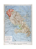 Map Showing the Eruption of Mount Pelee, Martinique, 1902 Giclee-trykk