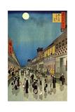 Saruwaka Cho, Yoru Shibai, 1856 Giclée-Druck von Ando Hiroshige