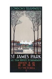 St James Park, London County Council (LC) Tramways Poster, 1928 Giclée-Druck