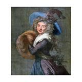 Woman with a Fur Muff, 1892 Reproduction procédé giclée par Elisabeth Louise Vigee-LeBrun