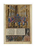 Pope Urban II at the Council of Clermont in 1095. Miniature from Livre Des Passages D'Outre-Mer Giclee Print