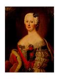 Portrait of Johanna-Elizabeth, Electress of Anhalt-Zerbst (1712-176), Mother of Catherine II, 1740s Giclée-Druck von Antoine Pesne