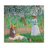 In the Woods at Giverny: Blanche Hoschedé at Her Easel with Suzanne Hoschedé Reading, 1887 Impressão giclée por Claude Monet