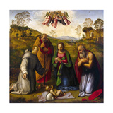 The Virgin with Child and Saints Francis and Jerome, 1510s Giclée-tryk af Ridolfo Ghirlandaio