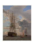 The Russian Ship of the Line Azov and a Frigate at Anchor in the Roads of Elsinore, 1828 Giclée-Druck von Christoffer-wilhelm Eckersberg