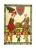 Margrave Otto IV of Brandenburg Playing Chess (From the Codex Maness), C1300 Giclée-Druck