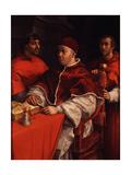 Portrait of Pope Leo X with Cardinals Giulio De' Medici and Luigi De' Rossi, Ca 1518 Lámina giclée por  Raphael