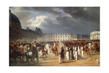 Invalid Handing a Petition to Napoleon at the Parade in the Court of the Tuileries Palace Giclée-Druck von Horace Vernet