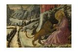 Saint Jerome and the Lion (Predella Panel of the Pistoia Santa Trinità Altarpiec), 1455-1460 Giclée-tryk af Fra Filippo Lippi