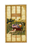 Rakhsh Kills an Attacking Lion While Rustam Sleeps. from the Shahnama (Book of King), Ca 1470 Giclee Print