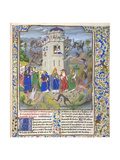 Fortress of Faith (Miniature of the Saints Gregory, Augustine, Jerome, and Ambrose Fighting Demon) Giclee Print by Loyset Liédet
