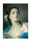 The Singer Faustina Bordoni (1697-178) with a Musical Score, C. 1725 Giclee-trykk av Rosalba Giovanna Carriera