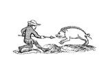 Spearing a Boar, 14th Century Giclée-Druck