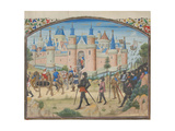 The Siege of Tyre, 1124. Miniature from the Historia by William of Tyre, 1460s Giclee Print