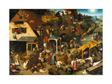 The Netherlandish Proverbs (The Blue Cloak or the Topsy Turvy World), 1559 Giclée-tryk af Pieter Bruegel the Elder