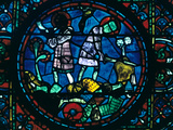 Roland Breaks His Sword and Sounds His Horn, Stained Glass, Chartres Cathedral, France, 1194-1260 Photographic Print