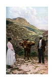 Mule with Water Kegs, Sicily, Italy, C1923 Giclée-tryk af AW Cutler
