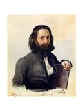 Portrait of Decembrist Alexander V. Podzhio (1798-187), 1837 Giclee Print by Nikolai Alexandrovich Bestuzhev