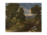 Landscape with a Man Scooping Water from a Stream, Ca 1637 Stampa giclée di Nicolas Poussin