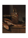 Still Life with Fish and a Cat, C. 1650-1660 Giclée-Druck von Wallerant Vaillant