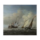 A Dutch Ship, a Yacht and Smaller Vessels in a Breeze, C. 1660 Giclée-Druck von Willem Van De Velde The Younger