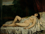 Sleeping Nude Reproduction photographique par Gustave Courbet