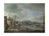 A Frozen River Near a Village, with Golfers and Skaters, C. 1647-1648 Giclee Print by Aert van der Neer