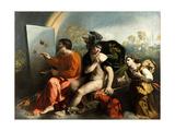 Jupiter, Mercury and the Virtue (Jupiter Painting Butterflie) Giclée-tryk af Dosso Dossi