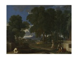 Landscape with a Man Washing His Feet at a Fountain, 1648 Stampa giclée di Nicolas Poussin