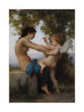A Young Girl Defending Herself Against Eros, 1880 Giclée-tryk af William-Adolphe Bouguereau