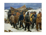 The Lifeboat Is Taken Through the Dunes, 1883 Giclée-tryk af Michael Ancher