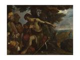 Saint John the Baptist Preaching in the Wilderness, C. 1640 Lámina giclée por Pier Francesco Mola
