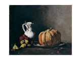 Still Life with Pumpkin, Plums, Cherries, Figs and Jug, Ca 1860 Giclee Print by Théodule Augustin Ribot