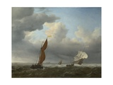 A Dutch Ship and Other Small Vessels in a Strong Breeze, 1658 Giclée-Druck von Willem Van De Velde The Younger