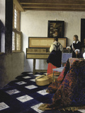A Lady at the Virginal with a Gentleman (The Music Lesso), Ca 1662 Giclée-tryk af Johannes Vermeer